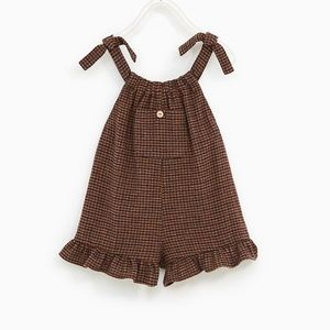 Zara baby girl 2-3T brown checked jumpsuit. NWT